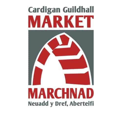 Cardigan Guildhall building features many beautiful stone arches, as illustrated in this dark grey and dark red logo.